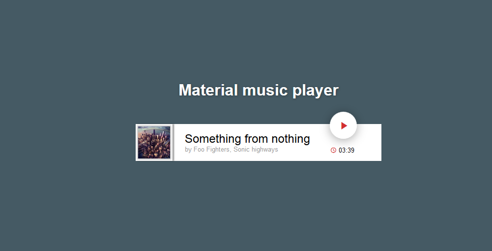 material风格网页音频播放器player