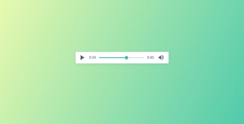 超简洁青色渐变背景网页音频播放器代码
