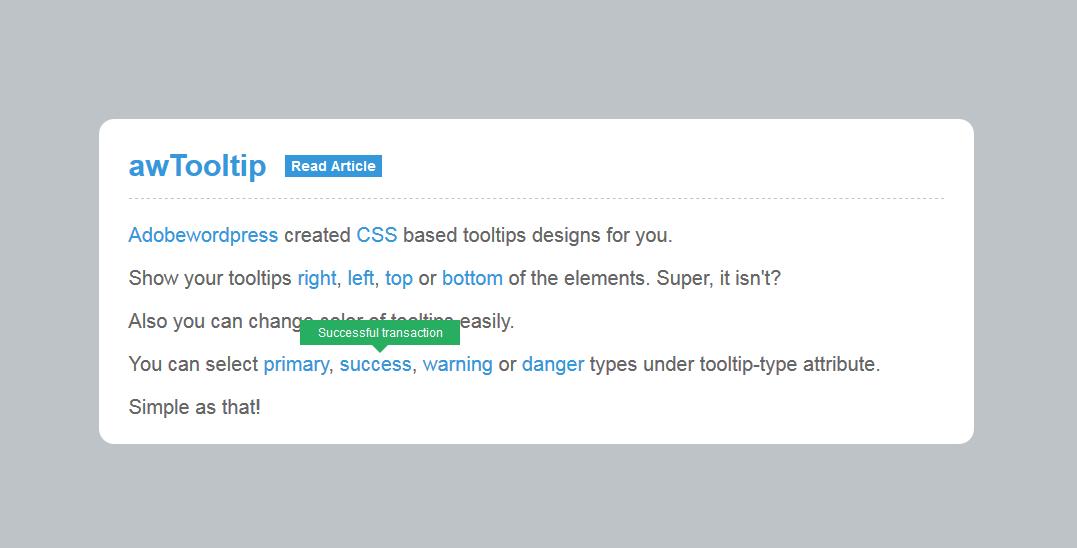 简洁tooltips提示信息插件 可自定义色彩代码下载