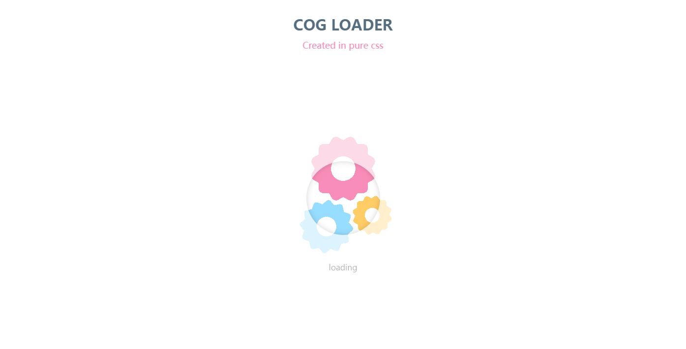 创意粉色齿轮转动加载loading动画效果代码