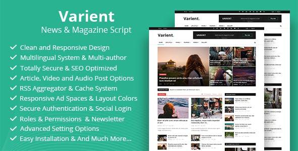Varient:多功能博客杂志内容管理系统PHP源码 SEO友好 伪静态 缓存功能