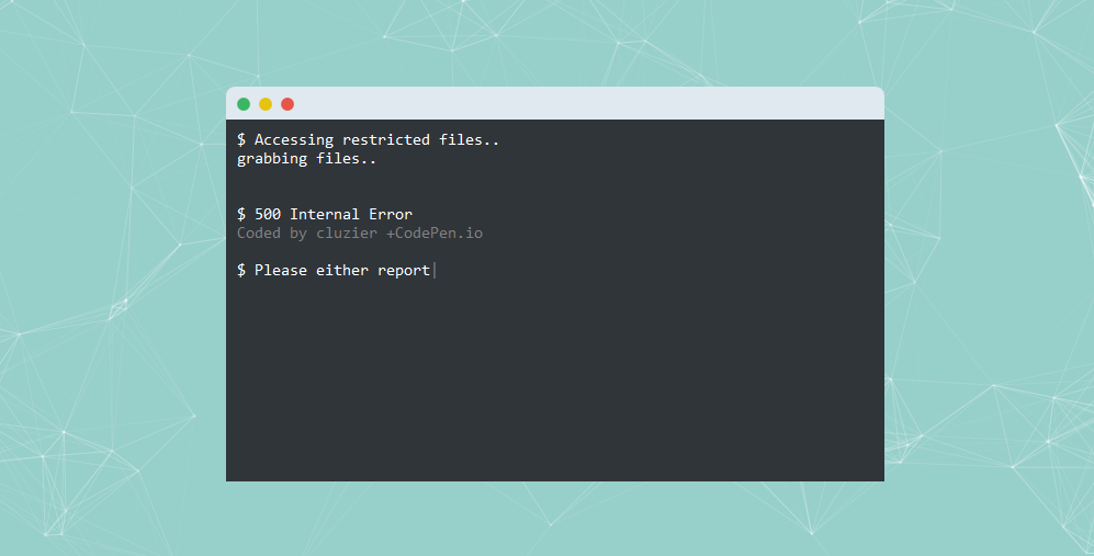 创意仿命令行样式服务器500错误页面html模板下载