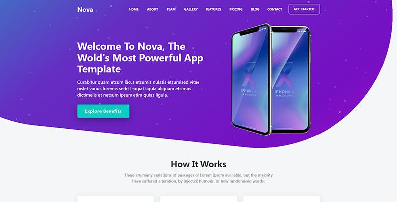 NOVA:紫色大气自适应手机应用介绍着陆页html5模板