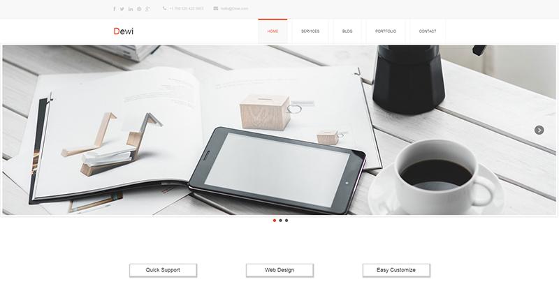 Dewi:橙色主题简洁自适应商务公司html5模板