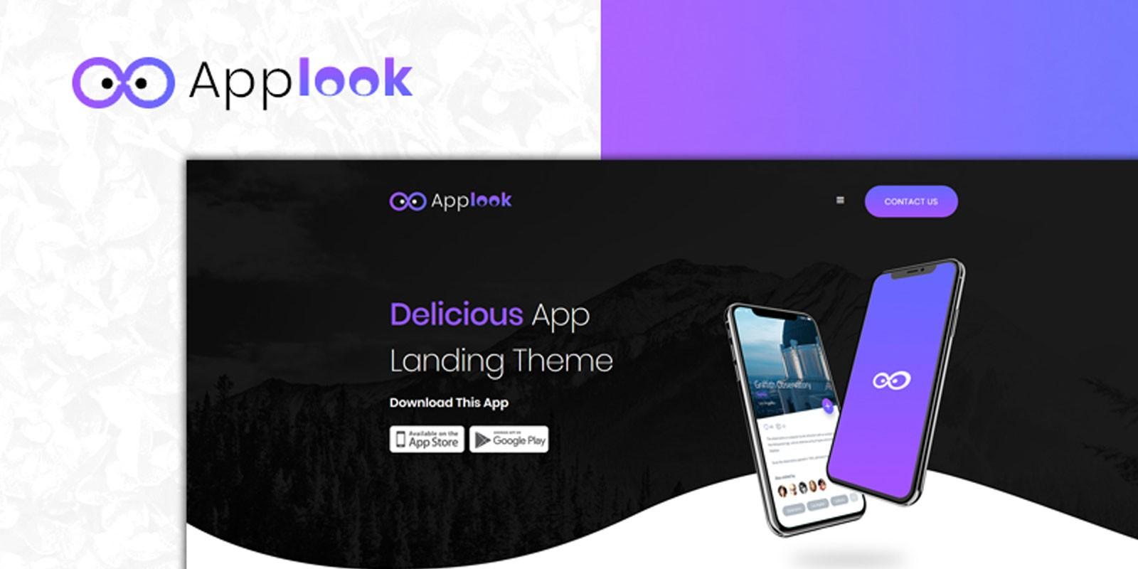 Applook:紫色黑色主题自适应手机应用APP介绍着陆页html模板