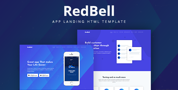 RedBell: App应用展示单页Bootstrap4网页HTML5模板,可用于各行业APP展示