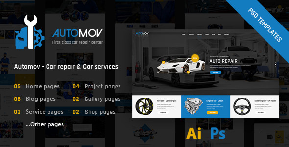 Automov:国外汽车服务、汽车维修保养网站PSD网页模板素材