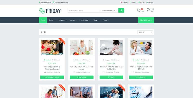 FRIDAY:绿色灰色搭配大气折扣、优惠券类html5网页模板 也可用于素材资源下载站等各种用途