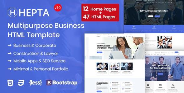 Hepta:蓝色大气自适应设计商业公司html5模板