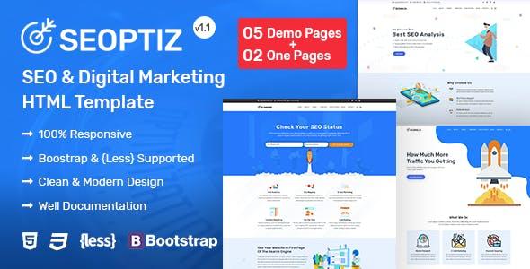 Seoptiz:蓝色大气自适应网络公司、SEO优化业务网站html5模板