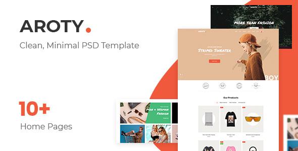 Aroty v1.0:简洁创意网上商城网页模板PSD素材