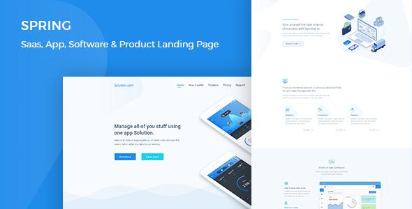 solution:豪华大气HTML5网页模板, 适用于软件 App Saas 产品展示单页 首页4个风格