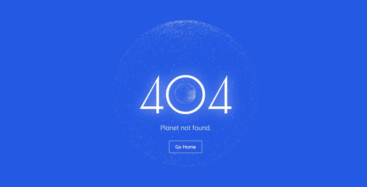 蓝色背景圆形粒子转动404错误页html网页模板