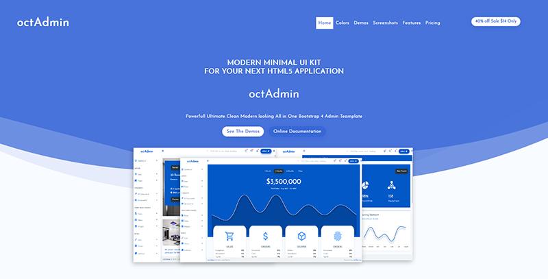 Octadmin:蓝色豪华多功能后台管理html5网页模板