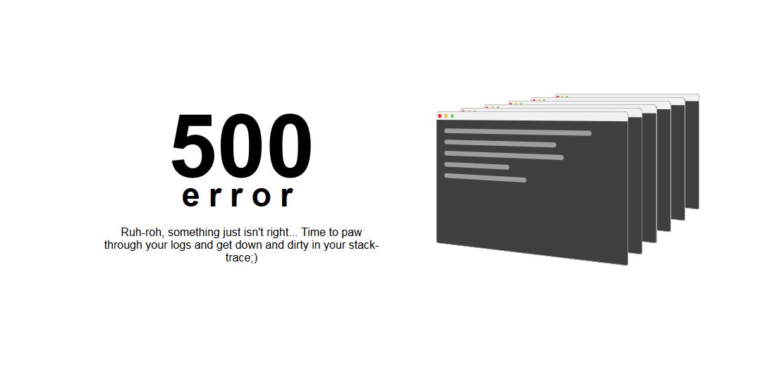 简洁服务器500错误页面html模板下载