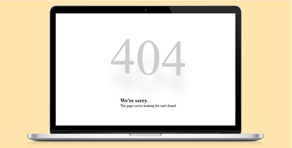 超简洁404错误页html网页模板