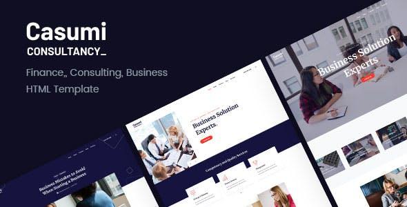 Casumi:蓝色金融财经商务公司html5模板
