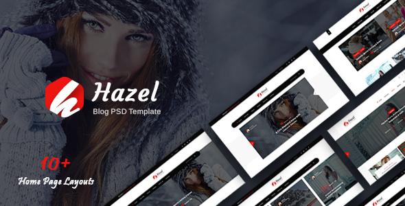 Hazel:黑色风格个人博客网站PSD设计模板