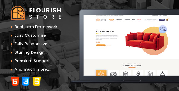 Flourish:简洁大气多功能家具商城html5网页模板