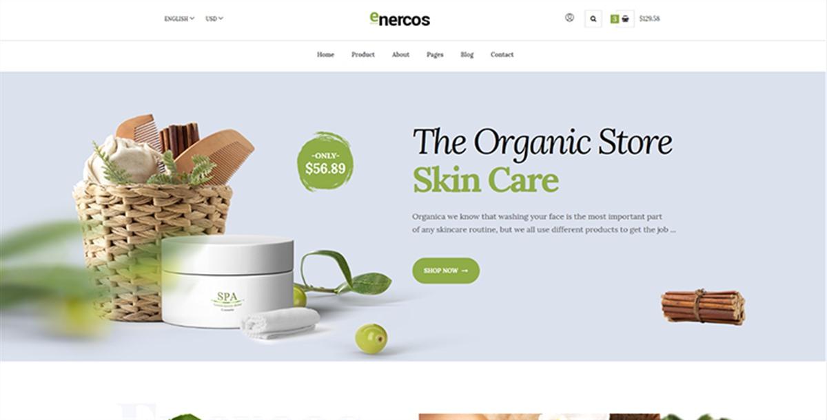 enercos:简洁设计护肤品、化妆品公司商城html5网页模板