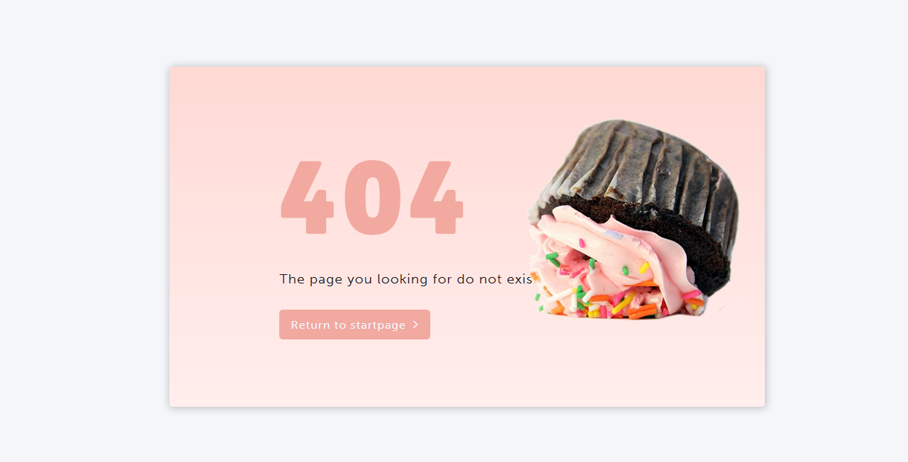 粉色食品蛋糕甜点类网站404错误页html网页模板