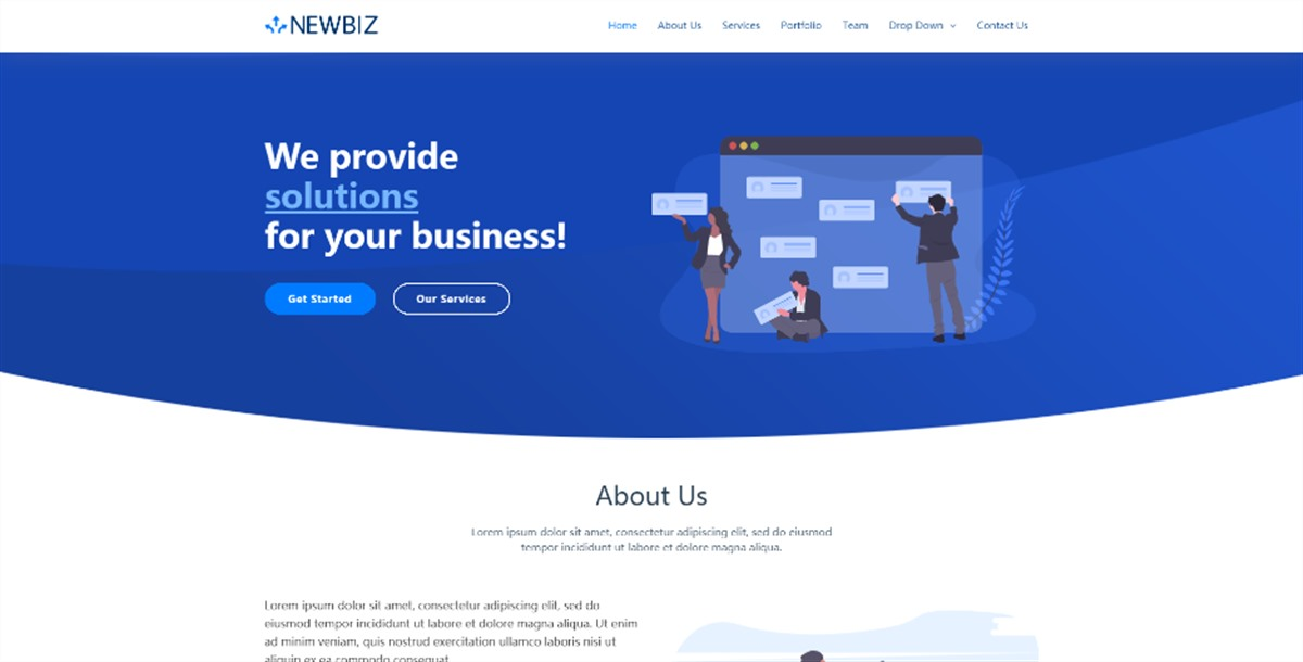 NewBiz:蓝色大气时尚公司html5网页模板