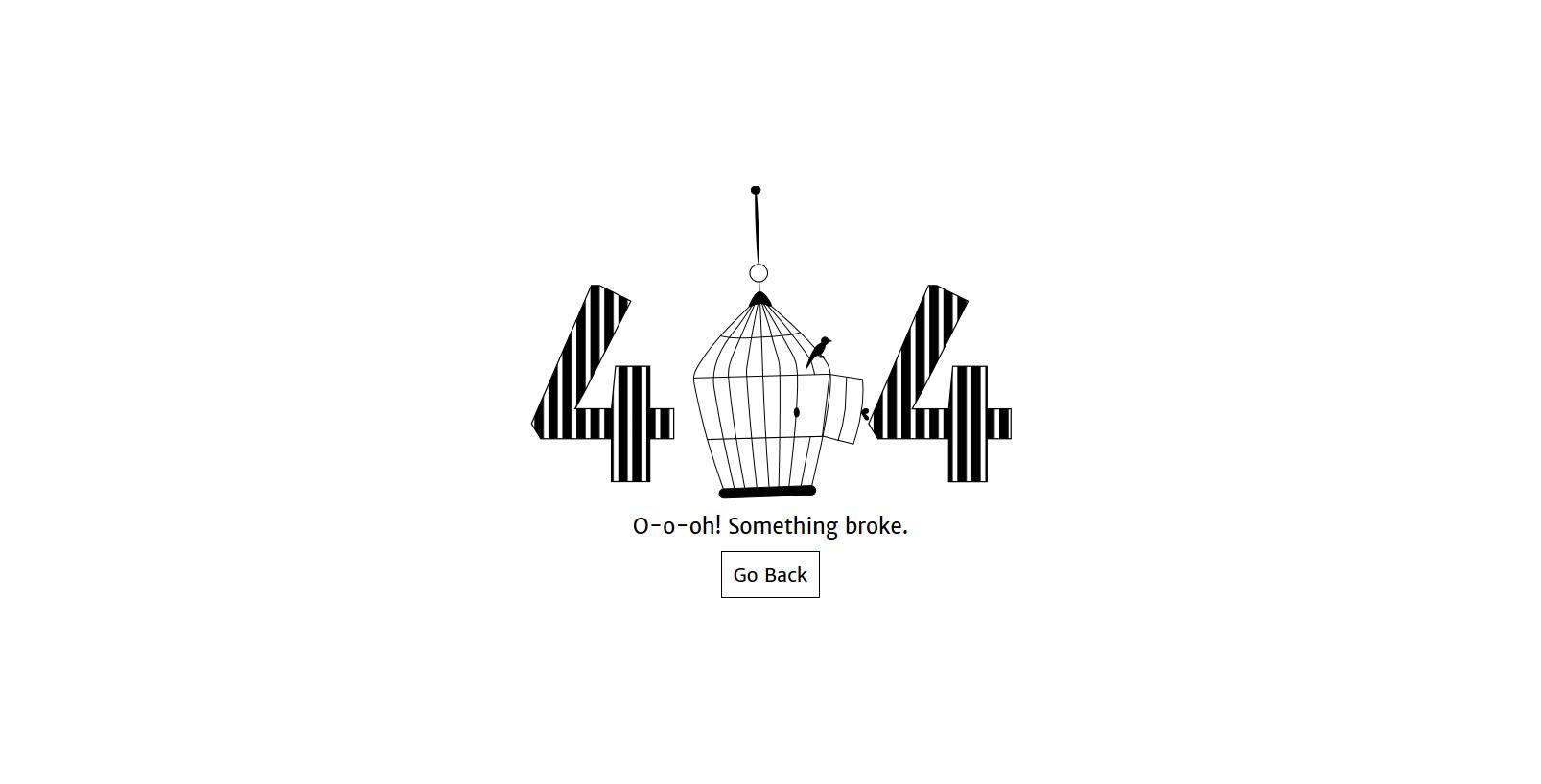 黑白色抽象艺术鸟笼摆动动画效果404错误页html网页模板
