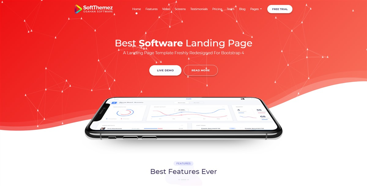 softthemez:红色大气手机软件APP介绍单页html5模板