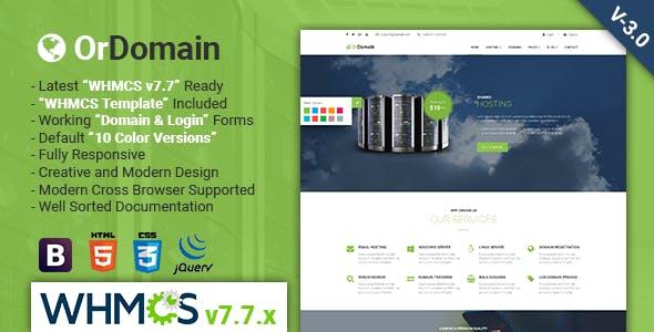 ordomain:浅绿色主题国外主机域名服务商网站html5模板