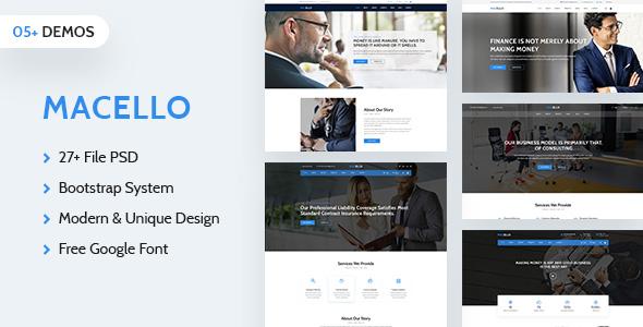 Macello:蓝色大气商业公司企业psd网页模板
