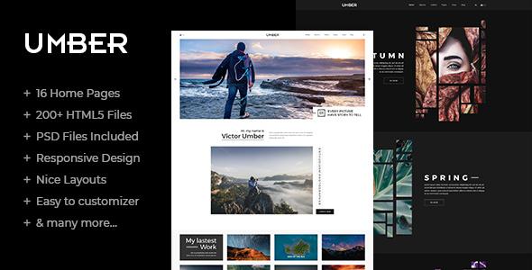 Umber:高级多功能相册、案例展示网站html5网页模板