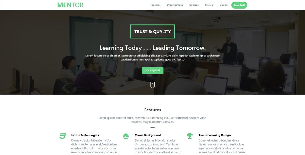 Mentor:绿色主题大气自适应设计企业公司html5单页模板