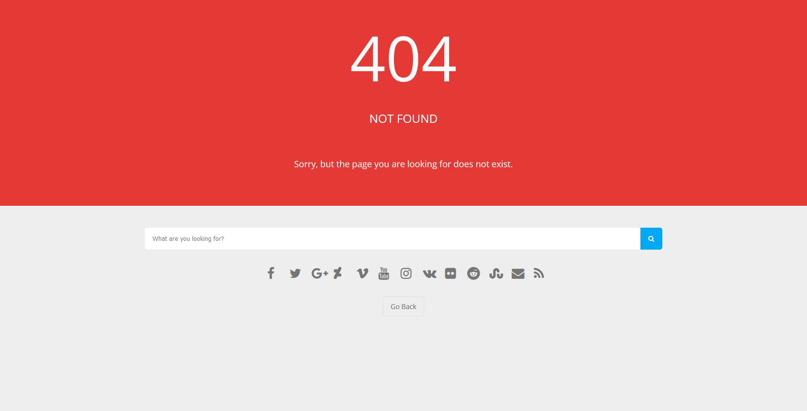 红色背景实用404错误页html网页模板