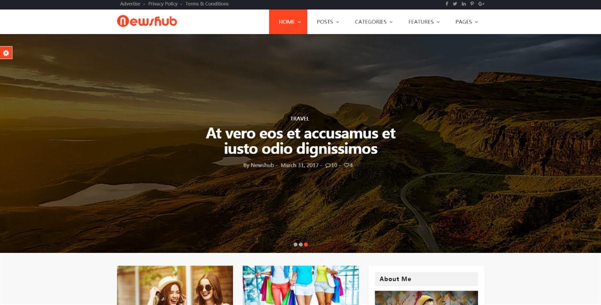 Newshub:自适应橙色主题多功能新闻资讯自媒体网站html5模板