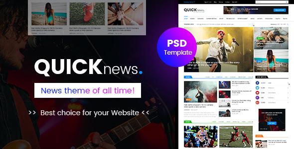 Quicknews - Blog, Magazine & News 网页模板PSD素材