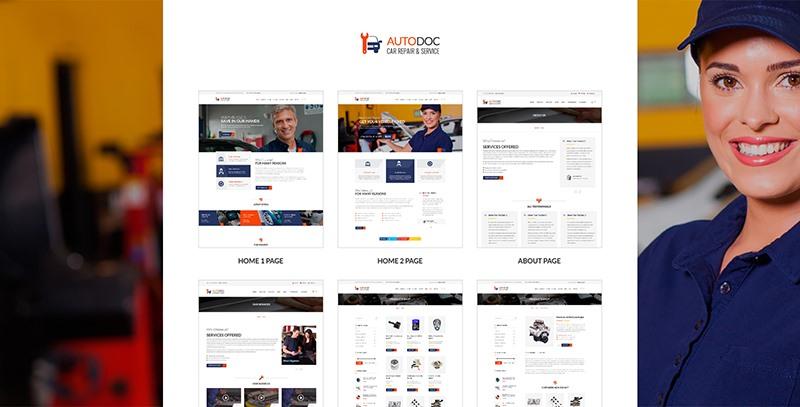 Autodoc:蓝色风格自适应国外汽车汽修行业公司html5网页模板