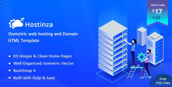 Hostinza:蓝色大气主机服务器域名服务商网站PSD模板