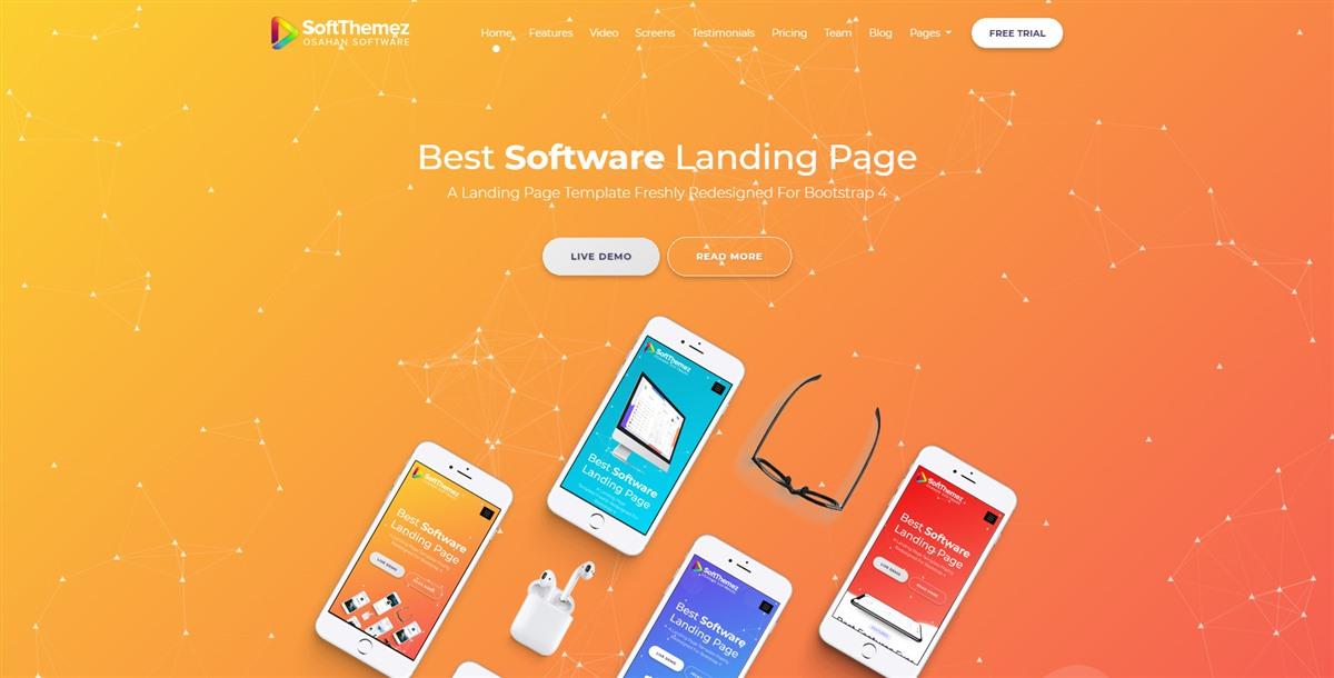 softthemez:橙色豪华自适应大气手机软件APP介绍单页html5模板