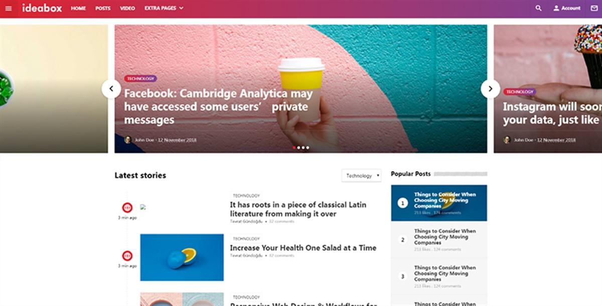 ideabox:自适应设计自媒体资讯网站html5网页模板