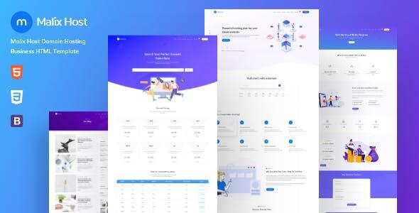 Malixhost:蓝色豪华大气主机服务器网站html5网页模板 自适应设计