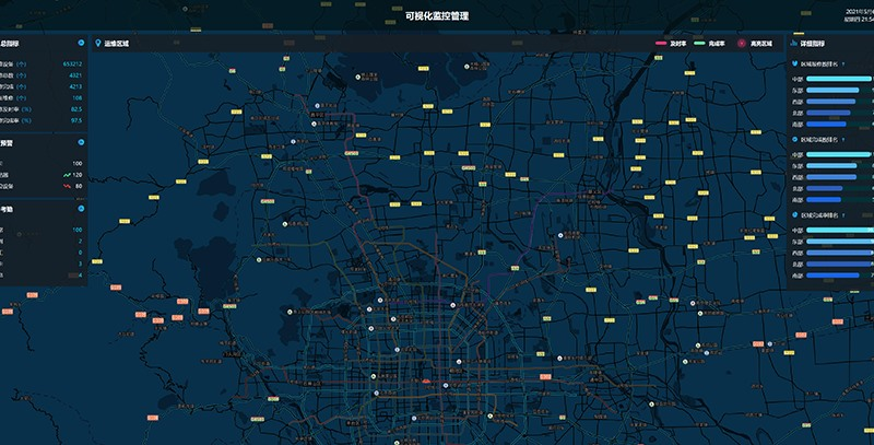 地图监控管理大数据可视化大屏界面网页html模板