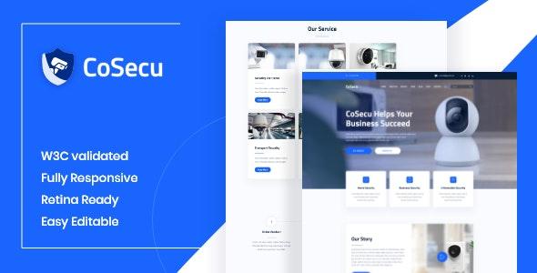 Cosecu:蓝色主题家居安全监控设备销售公司官网html5模板