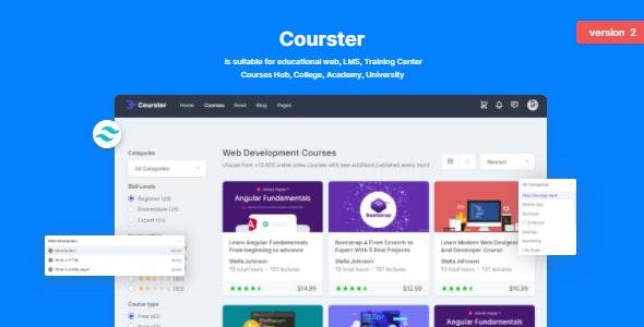 Courster:灰色大气在线学习、网课教育平台html模板
