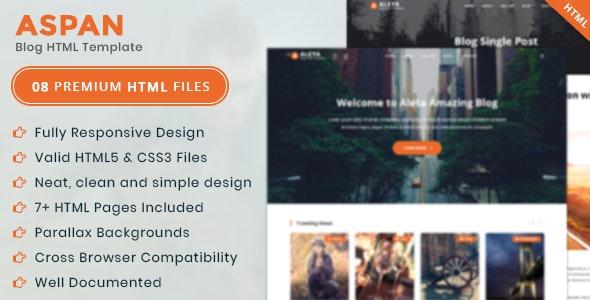 Aspan:国外博客类网站html模板