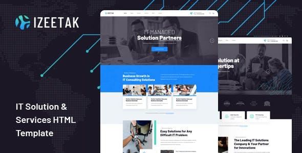 Izeetak:蓝色国外IT系统服务商网站html5模板