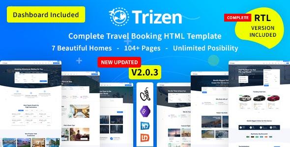 Trizen:大气设计国外旅游酒店预订网站html5模板