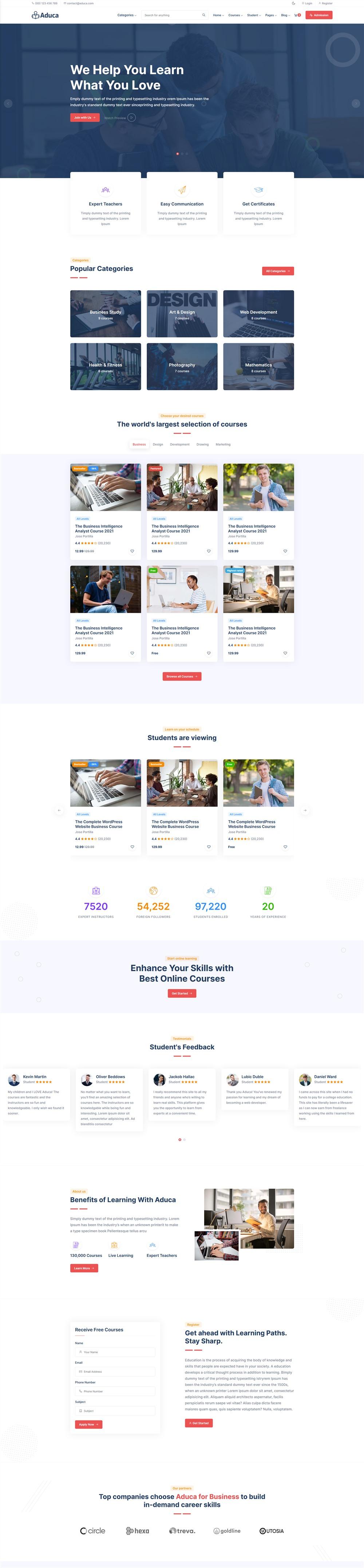 Aduca:国外在线课程学习网课平台html5模板1