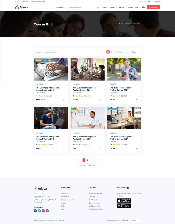 Aduca:国外在线课程学习网课平台html5模板2